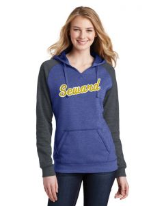 Juniors Lightweight Fleece Raglan Hoodie - Glitter Logo